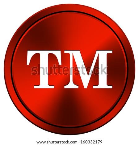 Metallic icon with white design on red  background - stock photo