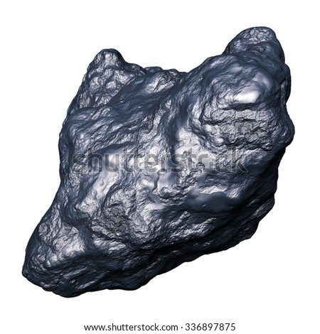 metallic iron meteorite, isolated on white background - stock photo