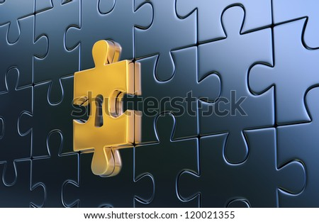 Metallic jigsaw puzzle and outstanding golden piece with keyhole as a symbol of disclosure puzzle. 3d render - stock photo