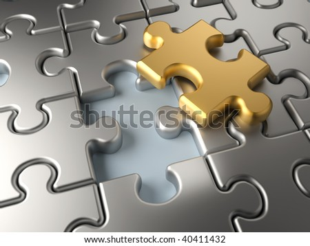 Metallic jigsaw puzzle with an outstending golden piece - 3d render - stock photo