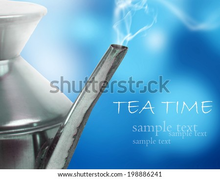 Metallic kettle closeup,Tea time concept