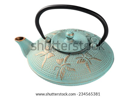 Metallic kettle for tea. Isolated on white background. - stock photo