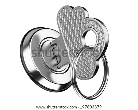 metallic key in keyhole. storage data cloud security concept isolated on a white background - stock photo
