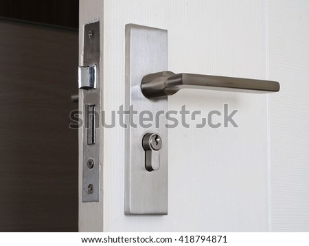 Metallic knob on white door