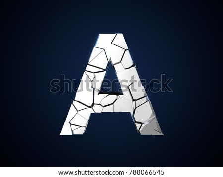 Metallic letter A cracked 3D render