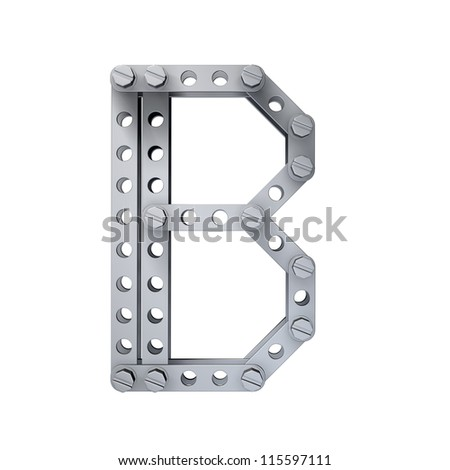 Metallic letter (B) with rivets and screws isolated on white background 3d render high resolution
