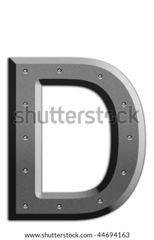Metallic letter D isolated on white background