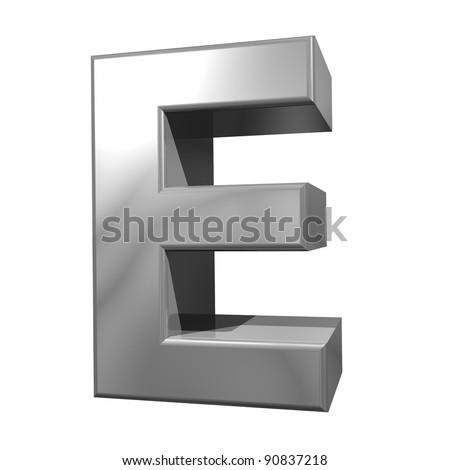 metallic letter E isolated on white background - stock photo