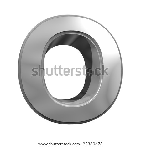 metallic letter o isolated on white background