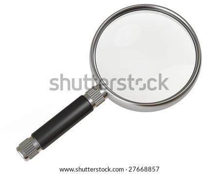 metallic magnifying glass with black handle on white background