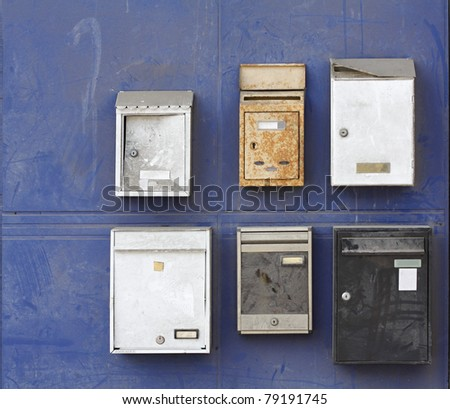 metallic mailboxes - stock photo