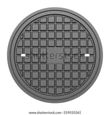 metallic manhole cover isolated on white background - stock photo