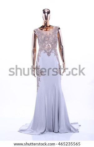 Metallic Mannequin, Shinny Reflection Model, Lace See Through Fashion Dress Evening Gown, front side