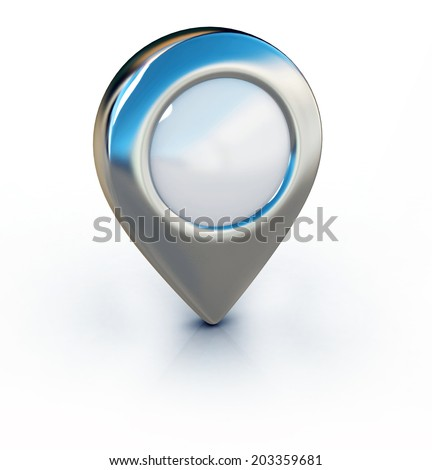 metallic map pointer isolated illustration - stock photo