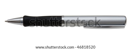 Metallic Matte Ballpoint Pen With Black Grip Isolated On White Background.  With Pocket Holder Clip. Purely Horizontal and Symmetrical.