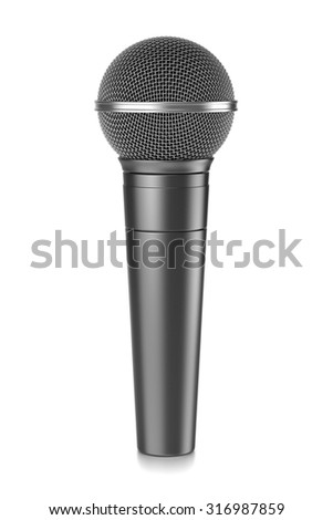 Metallic Microphone Isolated on White Background 3D Illustration - stock photo