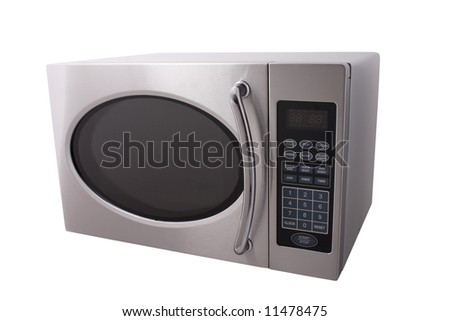metallic microwave oven isolated on white