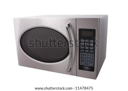metallic microwave oven isolated on white - stock photo