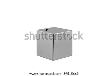 Metallic Moneybox isolated on white - stock photo