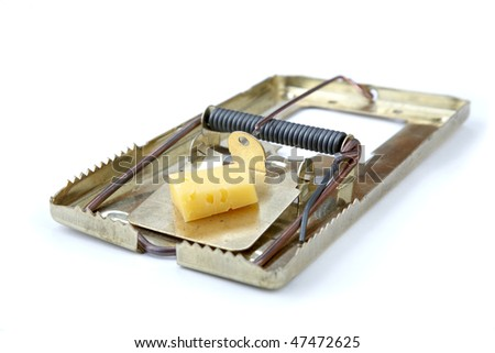 metallic mousetrap with cheese on a white background - stock photo