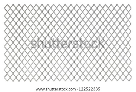 Metallic net on white background - stock photo