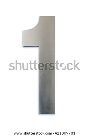 Metallic number one isolated on white background, Clipping path included. - stock photo