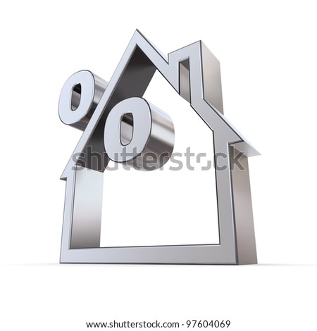 metallic outline of a house on white background with a percent symbol formed by the roof - stock photo