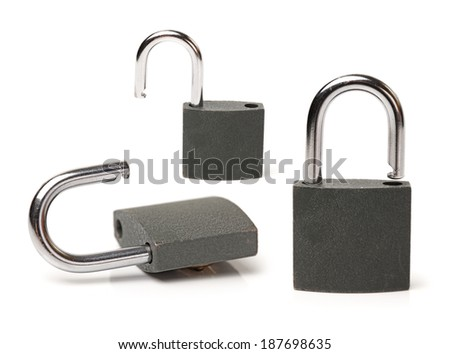 Metallic padlock on white background. - stock photo