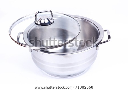 metallic pan on a white background