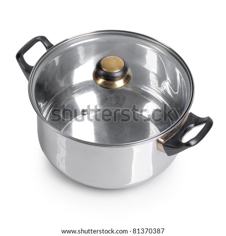Metallic pan on isolated on white background - stock photo