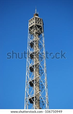 Metallic panoramic Branca tower on blue sky, Sempione park, Milan, Lombardy, Italy - stock photo