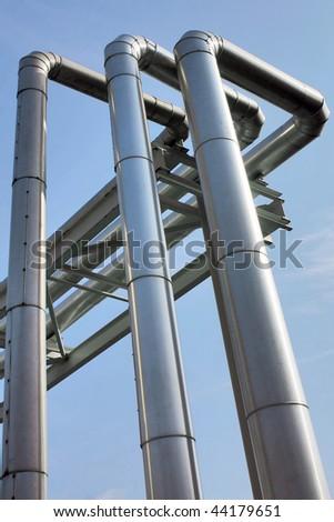 metallic pipeline - stock photo