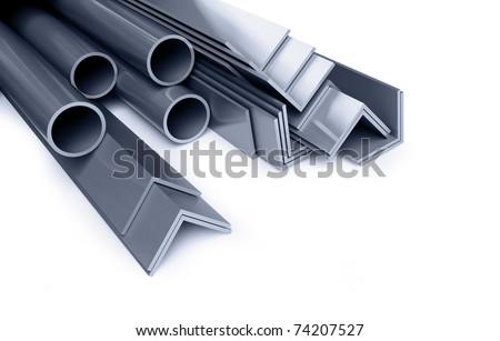 metallic pipes, corners, types - stock photo
