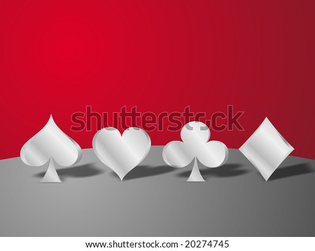 Metallic poker icons over a red background.