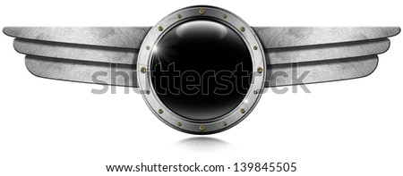 Metallic Porthole with Metal Wings / Dark gray metallic porthole with bolts and metal wings on white background