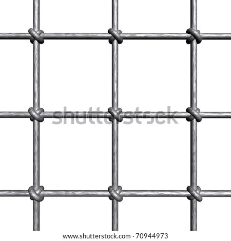 Metallic prison bars - isolated on white background - stock photo