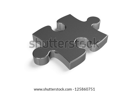 Metallic puzzle piece isolated on a white background - stock photo