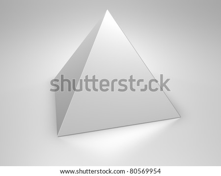 Metallic pyramid on metallic background, 3d render
