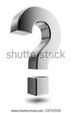 Metallic question mark. High resolution rendered in 3D. - stock photo
