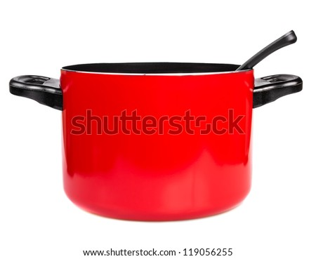 Metallic red cooking pot with a spoon isolated on a white background - stock photo