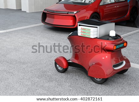 Metallic red self-driving delivery robot stopped in front of the garage.  The trunk opened and pizza boxes in it. Copy space available in the left side. 3D rendering image. - stock photo