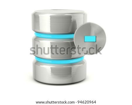 Metallic remove data base icon isolated on white - stock photo