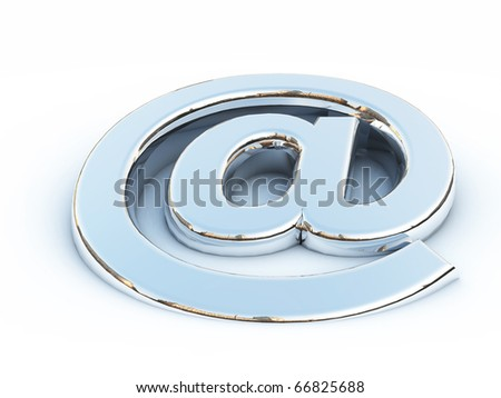 Metallic render of the 'at' symbol on a white background - stock photo