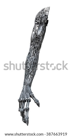 Metallic robot arm made from auto parts with machinery gears bolts and nuts isolated on white background with clipping paths - stock photo