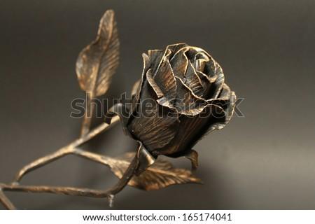 Metallic Rose on a black background. - stock photo