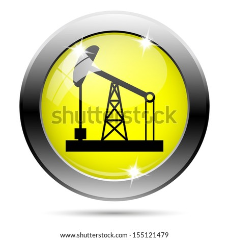Metallic round glossy icon with black design on yellow background