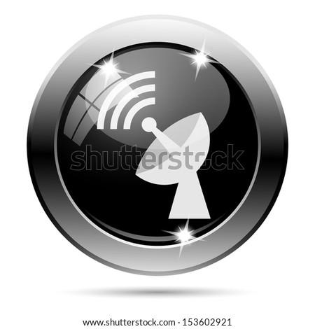 Metallic round glossy icon with white design on black background - stock photo