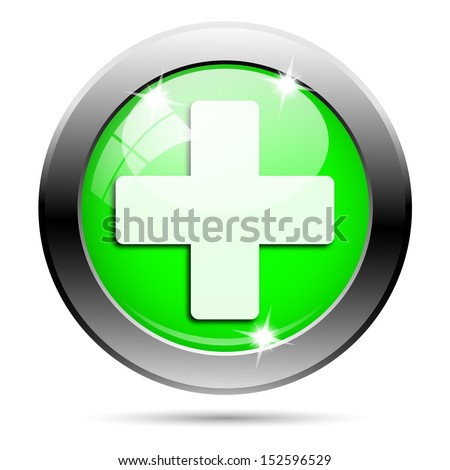 Metallic round glossy icon with white design on green background - stock photo
