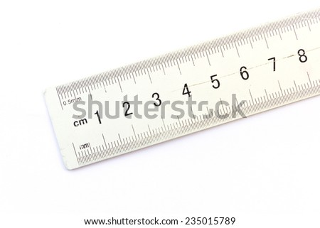Metallic ruler isolated on white background