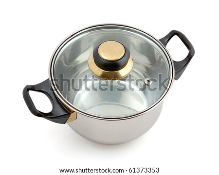 Metallic saucepan isolated on white background
